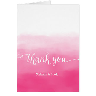 Delectable Shades of Pink Ombre Wedding Thank You Card