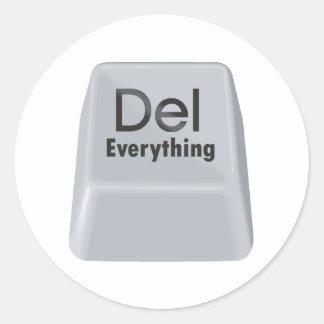 Delete Everything Classic Round Sticker