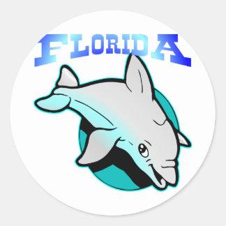 Delfín #2202 de la Florida Pegatina Redonda