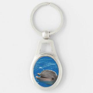 Delfín adorable llavero plateado ovalado