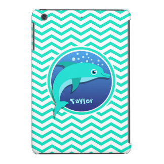 Delfín; Aguamarina Chevron verde Fundas De iPad Mini