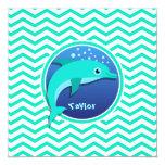 Delfín; Aguamarina Chevron verde Comunicados Personalizados
