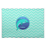 Delfín; Aguamarina Chevron verde Mantel Individual