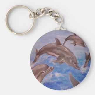 Delfín altos cinco llavero redondo tipo pin