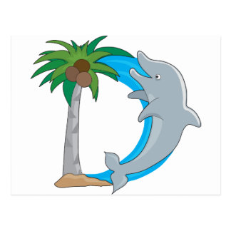 Delfín animal del alfabeto tarjetas postales