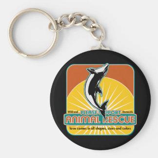Delfín animal del rescate llavero redondo tipo pin