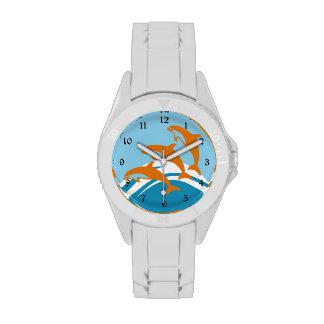 Delfín azul anaranjado colorido relojes