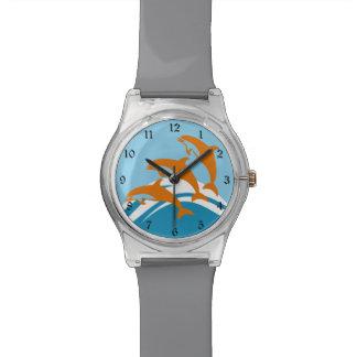 Delfín azul anaranjado colorido relojes de mano