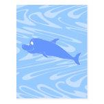 Delfín azul en modelo ondulado postal
