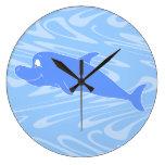 Delfín azul en modelo ondulado reloj