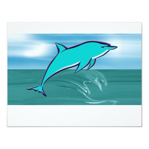 """Delfín azul invitación 4.25"""" x 5.5"""""""