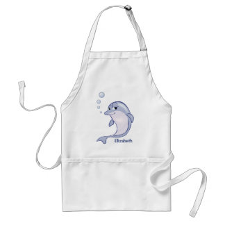 Delfín azul lindo a personalizar delantal