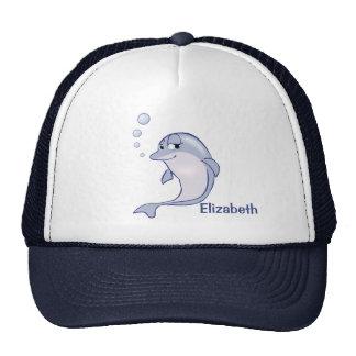 Delfín azul lindo a personalizar gorros bordados