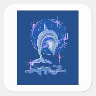 Delfín azul pegatina cuadrada