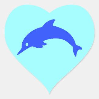 Delfín azul pegatina en forma de corazón