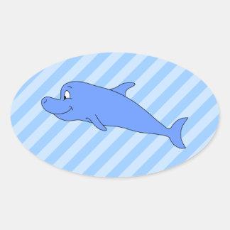 Delfín azul pegatina ovalada