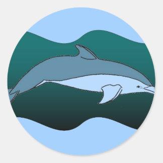 Delfín azul pegatina redonda