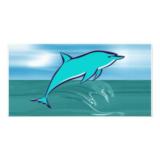 Delfín azul tarjetas con fotos personalizadas