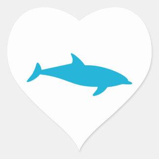 Delfín azul tranquilo pegatina en forma de corazón