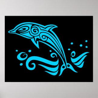 Delfín azul tribal de salto póster