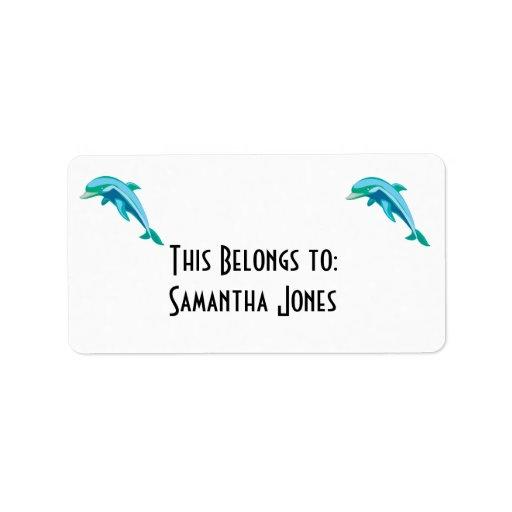 delfín azul y verde bonito etiquetas de dirección