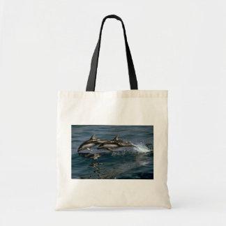 Delfín blanco-echado a un lado pacífico bolsa tela barata