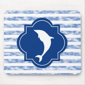 Delfín blanco en azules marinos tapetes de ratón