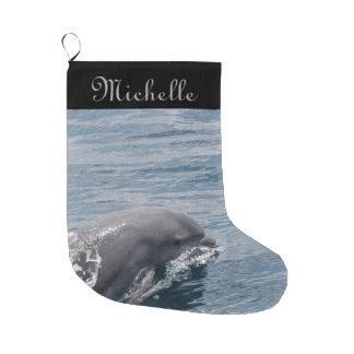 Delfín Calcetín De Navidad Grande