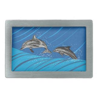 delfín-color hebillas cinturón rectangulares