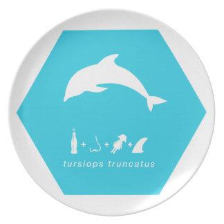 delfín de bottlenose hex.png azul platos de comidas