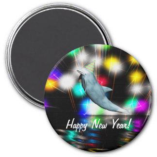 Delfín de la Feliz Año Nuevo Imán Redondo 7 Cm