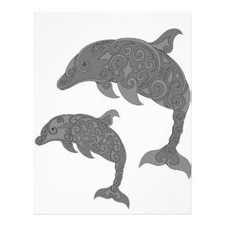 Delfín de la madre con el bebé membretes personalizados
