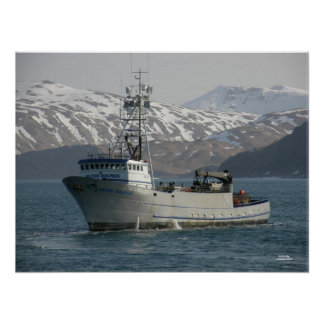 Delfín de plata, barco de pesca del cangrejo póster