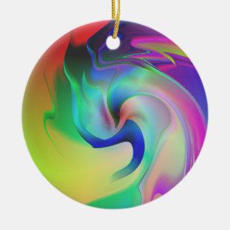 Delfín de risa adorno navideño redondo de cerámica