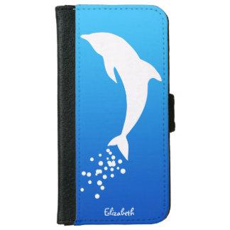Delfín de salto blanco con la caja de la cartera carcasa de iPhone 6