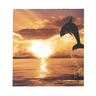 delfín de salto con puesta del sol hermosa sobre e libreta para notas