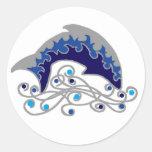 delfín de salto etiqueta redonda
