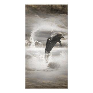 Delfín de salto impresionante tarjetas fotograficas personalizadas