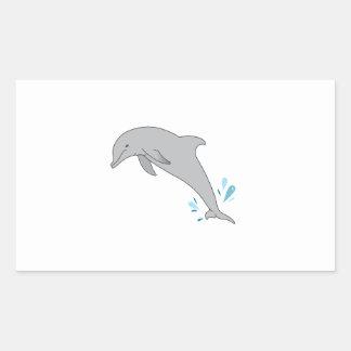 Delfín de salto pegatina rectangular