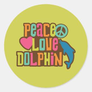 Delfín del amor de la paz etiquetas redondas