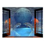 delfín del arte 3d junto postal