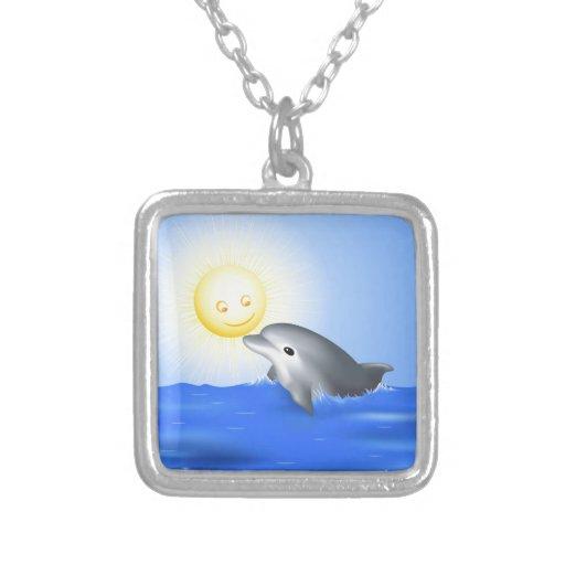 Delfín del bebé colgante cuadrado