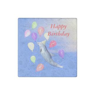 Delfín del feliz cumpleaños imán de piedra