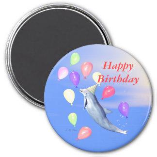 Delfín del feliz cumpleaños imán redondo 7 cm