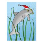 Delfín del navidad de Kawaii Tarjeta Postal