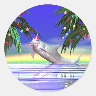 Delfín del navidad pegatina redonda