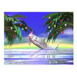 Delfín del navidad tarjetas postales