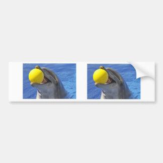Delfín del retrato con una bola en la boca pegatina para auto