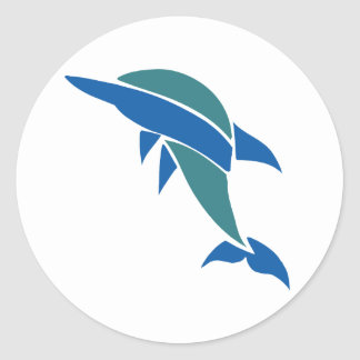 Delfín del vitral pegatina redonda