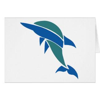 Delfín del vitral tarjeta de felicitación